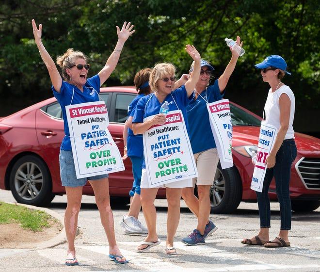 St. Vincent Hospital striking nurses on the picket line last month.