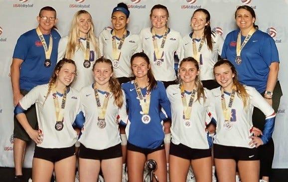 The Gainesville Juniors 17 Elite volleyball team.