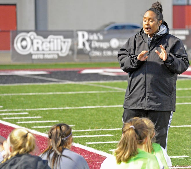 Southside coach Tiffany Cargill talks to her team during halftime Friday, March 6, 2020, during a girls high school soccer game against Gadsden City at Titan Stadium.