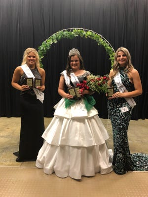 The 2021 Orange County 4-H Queen is Libby Padgett, center. She was also selected as Miss Congeniality. Her court consists of First Runner-up and Miss Active Wear Monica Robinson, left, and Second Runner-up Lili Seals.