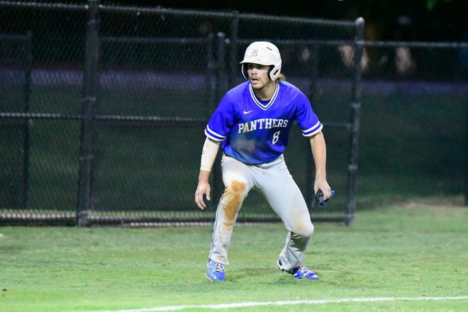 Midlothian High School recent graduate Nathan Humphreys runs the bases during the inaugural Ellis County All-Star Baseball Game held at Richards Park last Thursday. Humphreys, a Dallas Baptist signee, was named Most Valuable Player as the West All-Stars beat the East, 8-3.