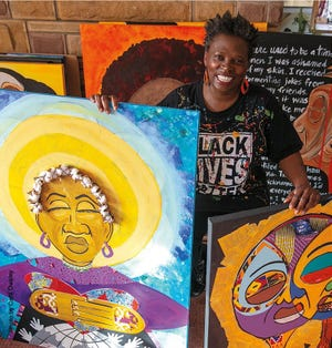 Artist and poet Annie Ruth's exhibition On Her Shoulders runs July 9-Aug. 30 at the Cincinnati Museum Center.