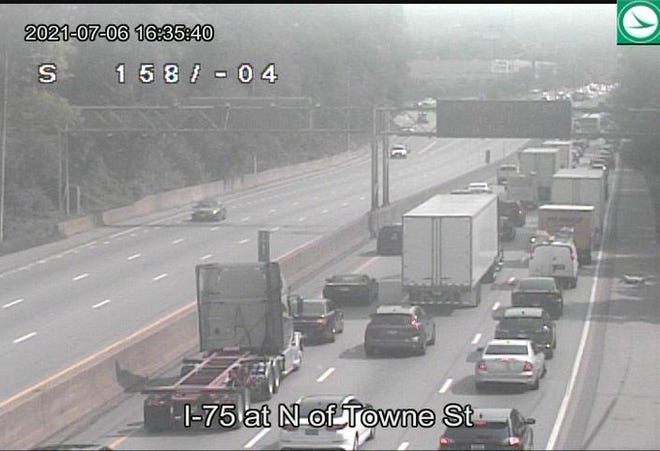 Interstate 75 northbound is closed following a crash on Tuesday.