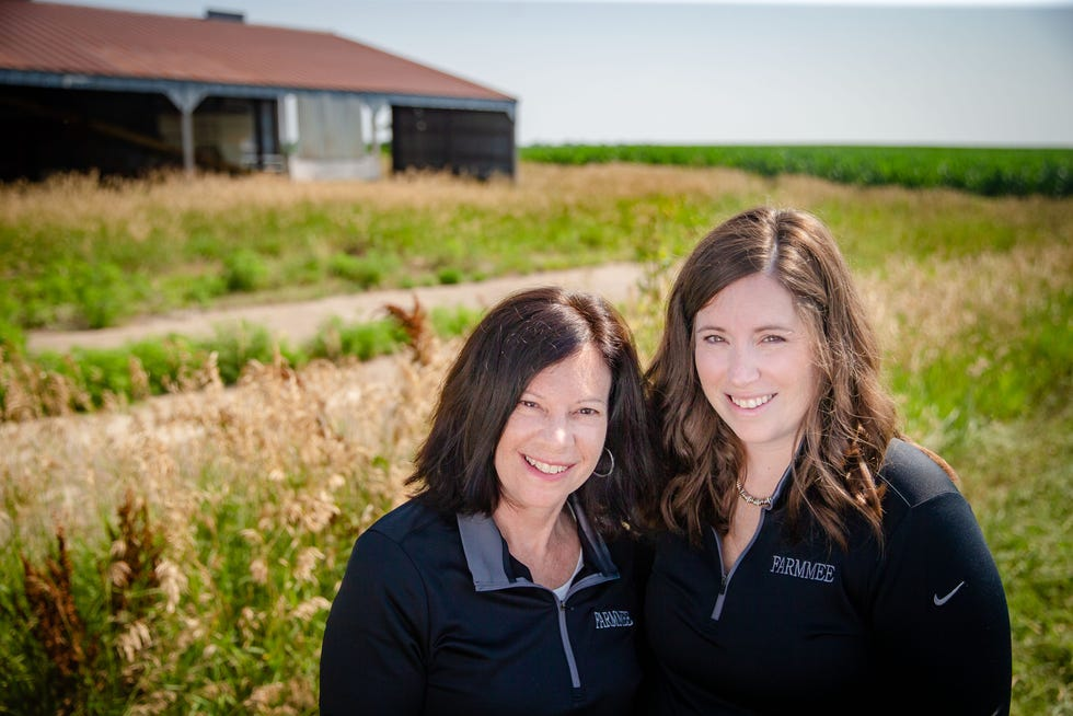 Cindy Rockwell, partner in Business development, and Molly Woodruff, partner and CEO of Farmmee, stand for a photo on Cindy's farm in Carlisle, Tuesday, July 6, 2021.