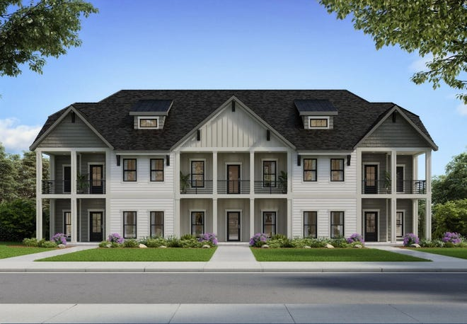 A rendering of the buildings at The Haven, a proposed townhome development on Northeast Main Street in Simpsonville.
