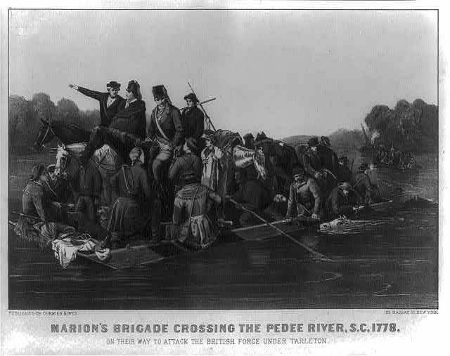 Marion's brigade crossing the Pedee River, S.C.. 1778, on their way to attack the British force under Tarleton from Currier & Ives. Library of Congress Prints and Photographs Division Washington.