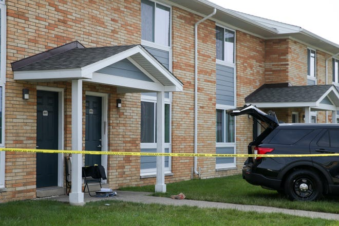 Lafayette Police investigate a double homicide at an apartment on Mount Court in Romney Meadows, Tuesday, July 6, 2021 in Lafayette.
