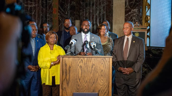 """Democrat State Representative Edward """"Ted"""" James speaksat a press conference regarding Louisiana State Police and their ongoing controversies Tuesday, July 6, 2021."""