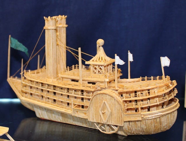 An old-fashioned cruise ship is one of the many items on display from James Badertscher's toothpick collection. The late Marion resident's artwork is available to view at the Marion County Historical Society.