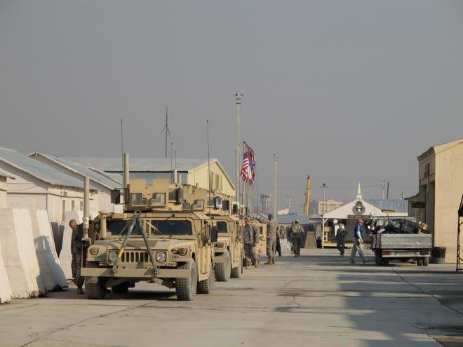 Humvees parked at Camp Phoenix in Kabul, Afghanistan.