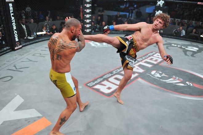 Ben Askren (right) vs Jay Hieron (left). Courtesy of Bellator Fighting Championships.