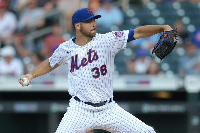 Mets starting pitcher Tylor Megill works against the Brewers during the first inning at Citi Field on Monday night.