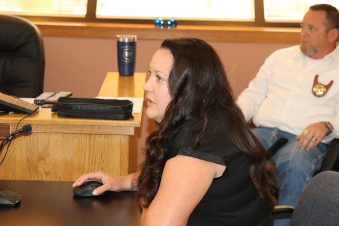 Eddy County Finance Director Roberta Smith explains May numbers to the Eddy County Board of County Commissioners July 6, 2021.
