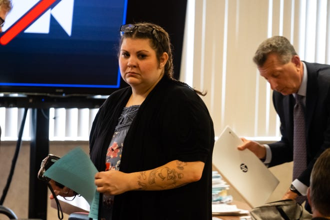 Tonya Russell exits the courtroom after her sentencing hearing Tuesday, July 6, 2021, in the St. Clair County Courthouse in Port Huron. Russell is charged with operating under the influence causing death, failure to report an accident and open container in a vehicle for striking and killing Dennis Jones Nov. 9.