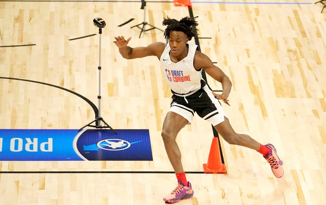 Ayo Dosunmu participates in the NBA Draft Combine last month at the Wintrust Arena in Chicago. The former Illinois guard is projected to be selected late in the first round or early in the second on Thursday at the NBA Draft.