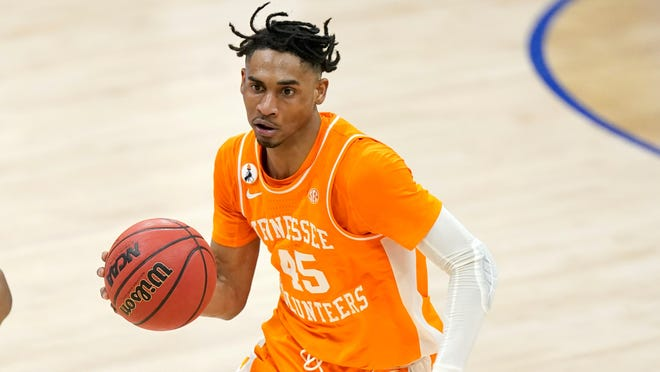 Tennessee's Keon Johnson plays against Alabama during the SEC Tournament in March in Nashville.
