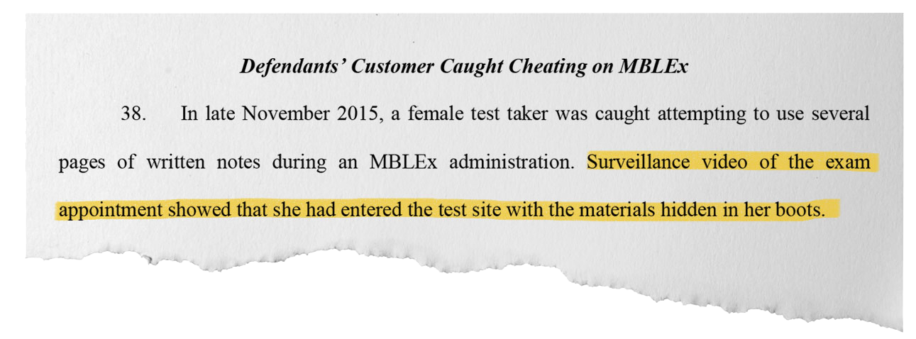 A one-stop-shop company for massage licenses was providing exam answers to clients, according to civil court records. One woman was caught hiding a cheat sheet in her boot.