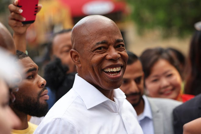 New York City mayoral candidate Eric Adams prepares to speak after voting during Primary Election Day at  P.S. 81 on June 22, 2021 in the Bedford-Stuyvesant neighborhood of Brooklyn borough in New York City.
