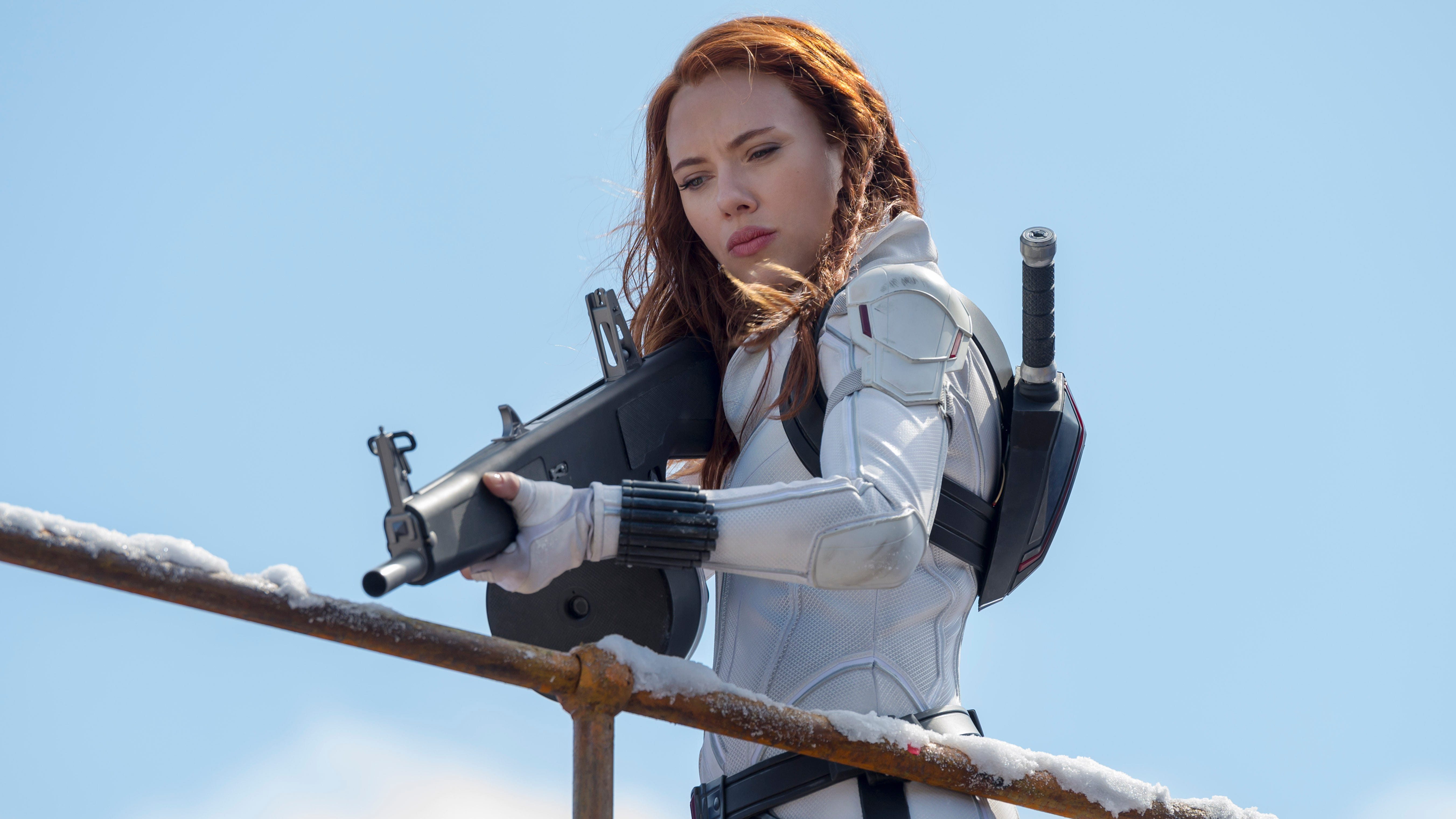 "Natasha Romanoff (Scarlett Johansson) tries to right past sins and also take down a new threat in ""Black Widow."""