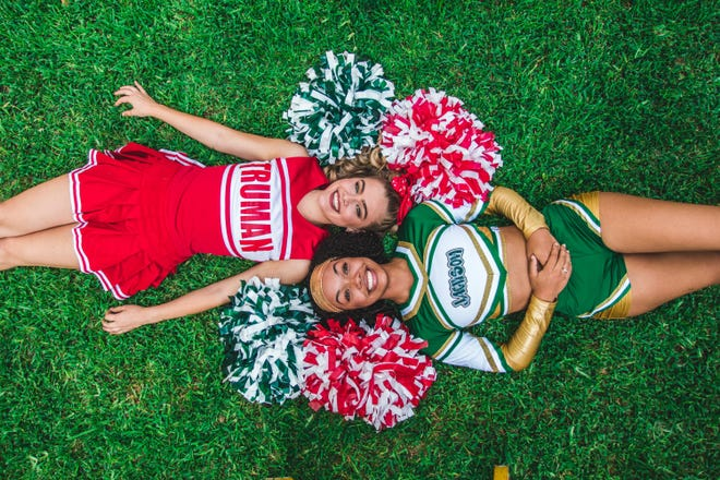 """Hannah Roberts, left, and McKenlee Wilson are part of the Summer Stock Austin crew performing in the cheer musical """"Bring It On"""" at the University of Texas."""