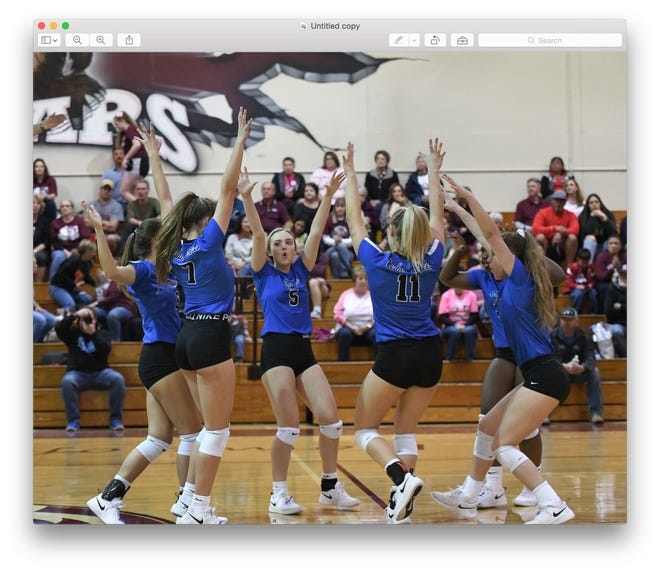 Cedar Creek volleyball players celebrate a point during the 2020 season. James Fidler was named the new head coach of the team this week.