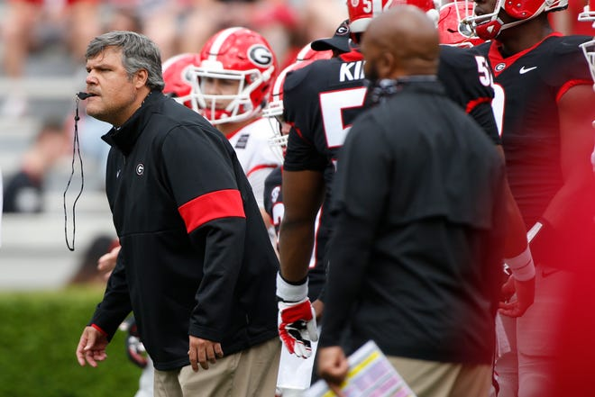 Georgia associate head coach and offensive line coach Matt Luke during warm-ups before the start of the Georgia G-Day Spring football game in Athens, Ga., On Saturday, April 17, 2021. (Photo/Joshua L. Jones, Athens Banner-Herald)