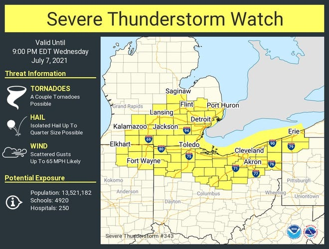 A severe thunderstorm watch is in effect for all of northern Ohio until 9 p.m. Wednesday.