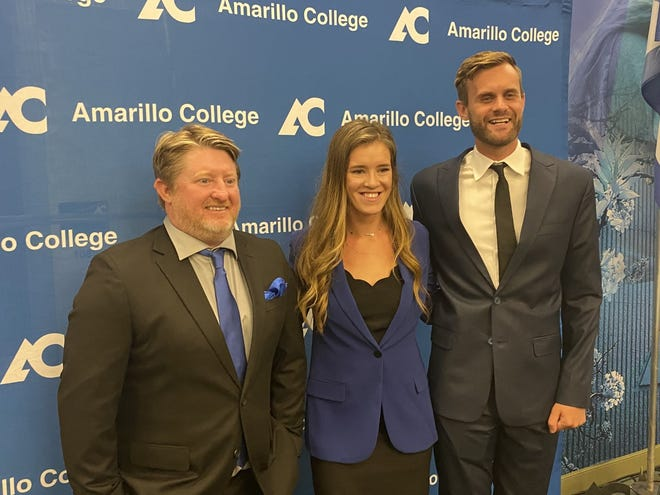 Amarillo College coaches Brandon Rains (left), Amanda Black (middle), and Austin Warner (right) pose for photos during their introductions Wednesday.