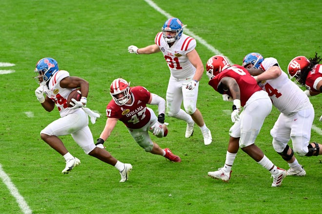 Ole Miss running back Snoop Conner breaks free on a run in the second half of the Rebels' 26-20 win over Indiana in the Outback Bowl. Ole Miss returns four offensive line starters, is bringing in an all-conference center transfer from Utah, and also welcomes back its entire running back corps.