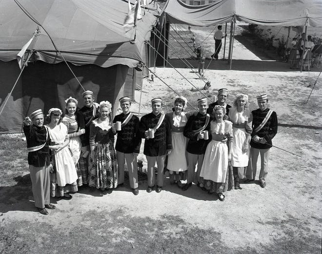 Members of a 1951 Cape Cod Music Circus production pose in costume.