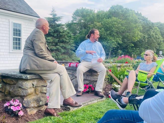 Mark Ells and Matt Levesque address the Marstons Mills Civic Association Tuesday night at Burgess Park.