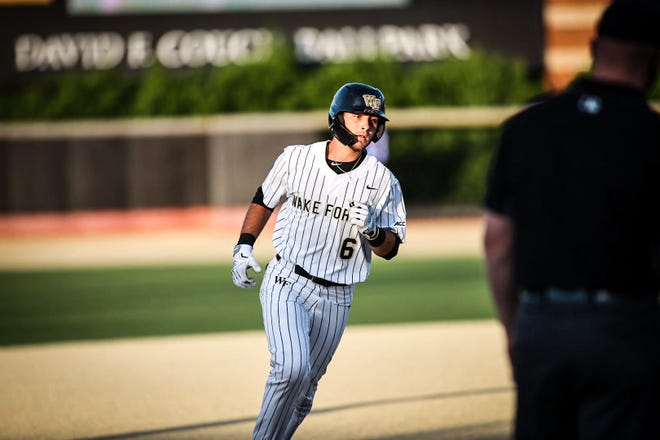 Michael Turconi rounds the bases after hitting a home run for Wake Forest this past spring. The former Blackhawk standout looks to hear his named in this year's MLB draft.