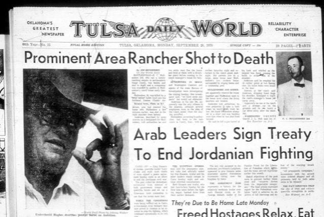 Some of the press coverage of the 1970 murder of Osage County rancher millionaire E.C. Mulldendore III.