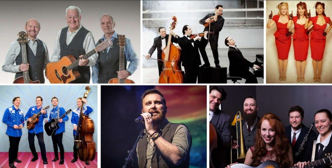 Clockwise from upper left are The Folk Legacy Trio, Janoska Ensemble, America's Sweethearts, Miss Myra and the Moonshiners, David Shannon and The Everly Set.