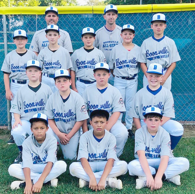 BOONVILLE 10-YEAR-OLD ALL-STARS (front row, left to right) Quincy Hobbs, Keylen Roper and Tallin Kempf. (second row, left to right) Waylon Monteer, Jonah Bishop, Corbin Jackson and Bryton Scott. (third row, left to right) Sawyer Asbury, Thomas Schuster, Kade Watring, Tyson Martin and Kyran Turner. (back row, left to right) Tony Watring (Coach) and Brian Jackson (Manager). Not pictured are Easton Gerding and Erich Gerding (Coach).