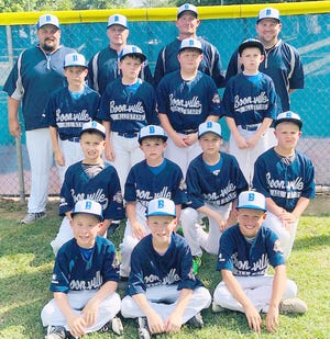 BOONVILLE 9-YEAR-OLD ALL-STARS (front row, left to right) Chase Vandelicht, Drew Vandelicht and Kody Fenical. (second row, left to right) Sam Thacher, Derrick Hundley, P. J. Ash and Braxton Meyers. (third row, left to right) Alexander Eichelberger, Brad Bishop, Zach Felten and Grayson Tate. (back row, left to right) Kyle Tacher (Coach), Matt Vandelicht (Coach), Jason Hundley (Manager) and Ryan Tate (Coach).