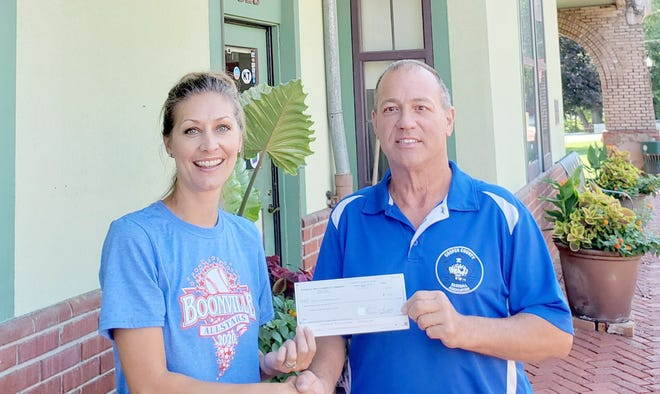 Boonville Chamber of Commerce board member, Denise Solomon, presents a check to Mike Watts and the Cooper County Baseball Association last Friday for funds raised during the 1860s baseball game, which the Boonville Chamber of Commerce hosted to kick off the baseball season in Cal Ripken Minor and Major on May 1. Cooper County Baseball Association President Michael Watts said the money will go towards travel expenses for players and coaches when teams travel out of state. The 1860s game was played on May 1 between the St. Louis Brown Stockings and the Topeka Westerns at Twillman field in Harley Park.  W-K Family of Dealerships with the help of the Boonville Pirate Booster Club provided burgers and hot dogs to raise additional funds for CoCoBA.