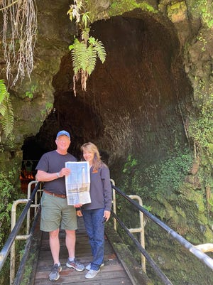 HAWAII Bruce and Deanna Herfel of Gahanna visit the Nahuku Thurston Lava Tube in Volcanoes National Park on the Big Island of Hawaii. They suggest checking the Safe Travels Hawaii website frequently before traveling because the COVID testing requirements change frequently.