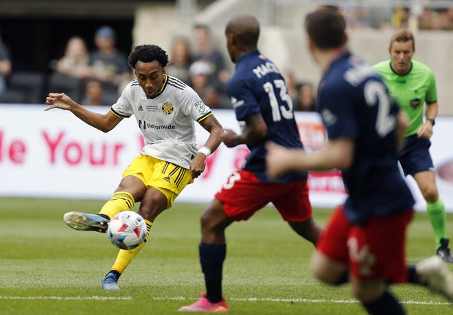 Marlon Hairston, here taking a shot against New England on July 3, has provided veteran depth in the Crew's midfield.