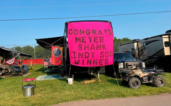 Race fans decorated their camp site at Mid-Ohio Sports Car Course on July 3 to congratulate local IndyCar owner Mike Shank on winning the Indianapolis 500.