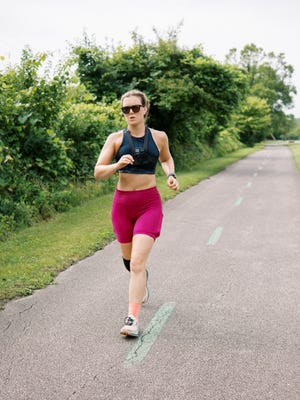Spotz running along the Ohio to Erie Trail during her 11th ultramarathon on July 1.