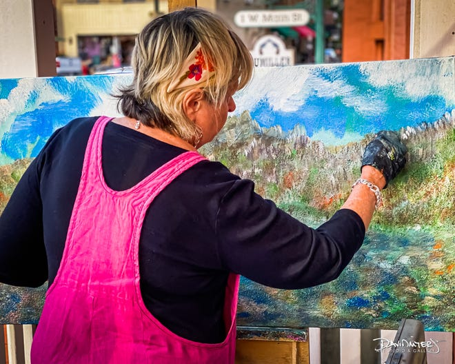 Kathy Norris, who has been painting for more than four years at the David Myers Art Studio & Gallery, 7 W. Main St. in Westerville, will be the featured artist at the Fourth Friday Festival.