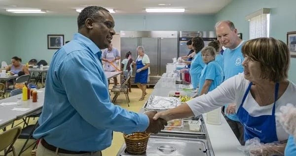 The Soup Kitchen is full of staff who enjoy helping people in need.