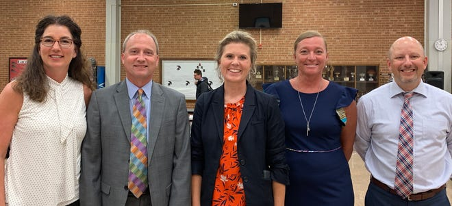 New leadership named for Davidson County Schools. Pictured are Maria McGee (left), Steve Reynolds, Heather Horton, Jennifer Woodrum and Jason Lohr.