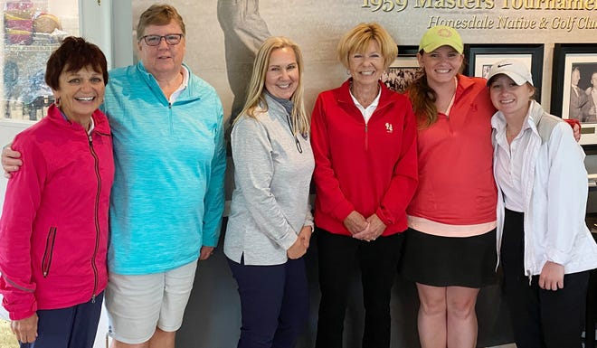 The historic Honesdale Golf Club recently provided the backdrop for one of the year's most anticipated events: The Women's Member-Guest Tournament. The 2021 tourney attracted elite linksters from all over the area, providing plenty of excitement for local fans. The team of Bridget Simons and Julia Santo (far right). defended their title. They're pictured here with runners-up Rae Ann Bishop and Julie Cerra, along with third place finishers Joanne Wychowanec and Sue Kulasinsky.