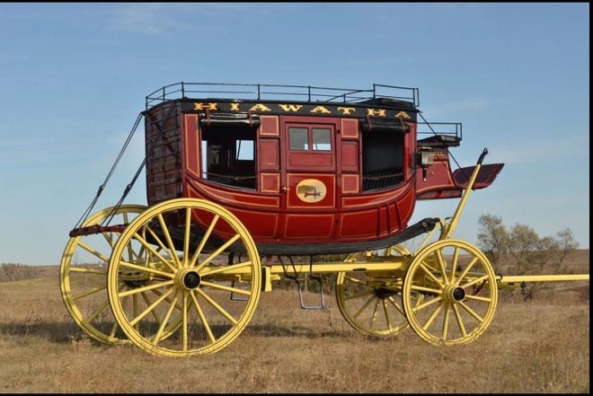 The c. 1850 Hiawatha stagecoach, fully restored at  Hansen Wheel & Wagon Shop in South Dakota, ready to be returned to the Pike County Historical Society in Milford, Pa. /Photo courtesy PCHS