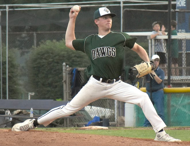 Troy Butler, recently graduated from Fort Plain High School, made his Veterans Memorial Park mound debut with the Mohawk Valley DiamondDawgs Tuesday against the Auburn Doubledays. Butler struck out three batters in two scoreless innings while the DiamondDawgs came back from trailing 8-1 and tied the game at 8.