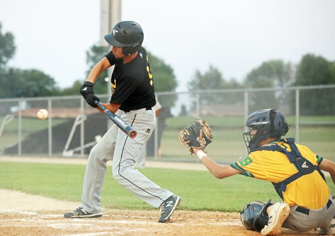 New London's Seth Bailey takes a swing at the pitch Tuesday against Notre Dame.