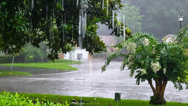 A heavy band from Tropical Storm Elsa moved through the Jacksonville area at about 4 p.m., accompanied by a thunderstorm, dumping lots of rain.