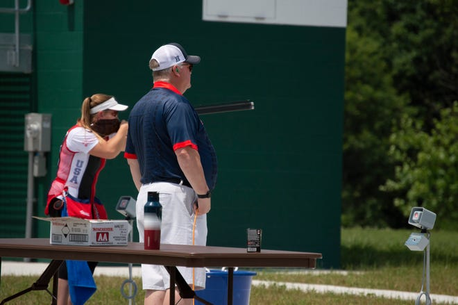 USA Shooting Officials watch shooters compete at the Junior Olympic Shotgun National Championships.